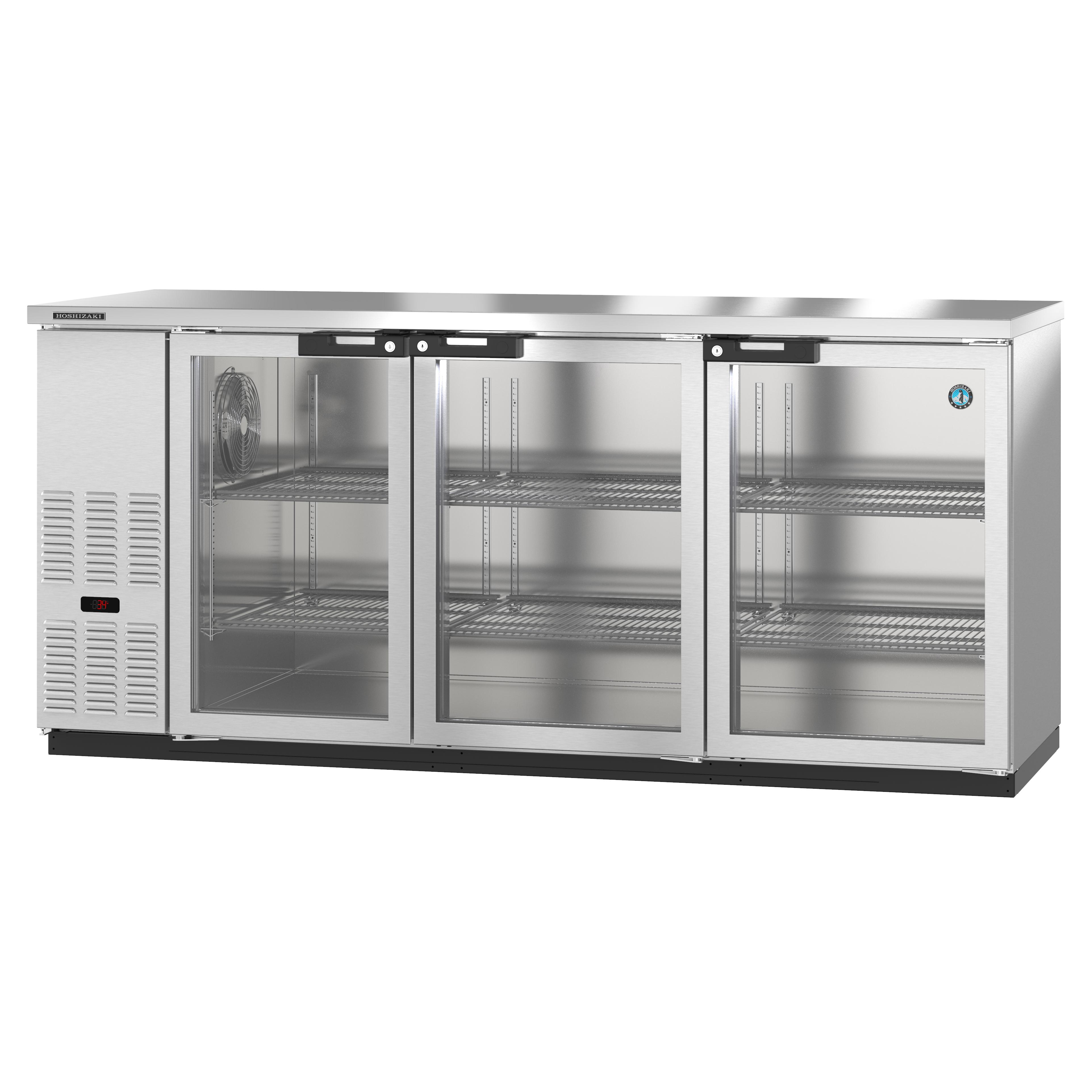Hoshizaki BB80-G-S bar refrigerator, 3 swinging solid doors