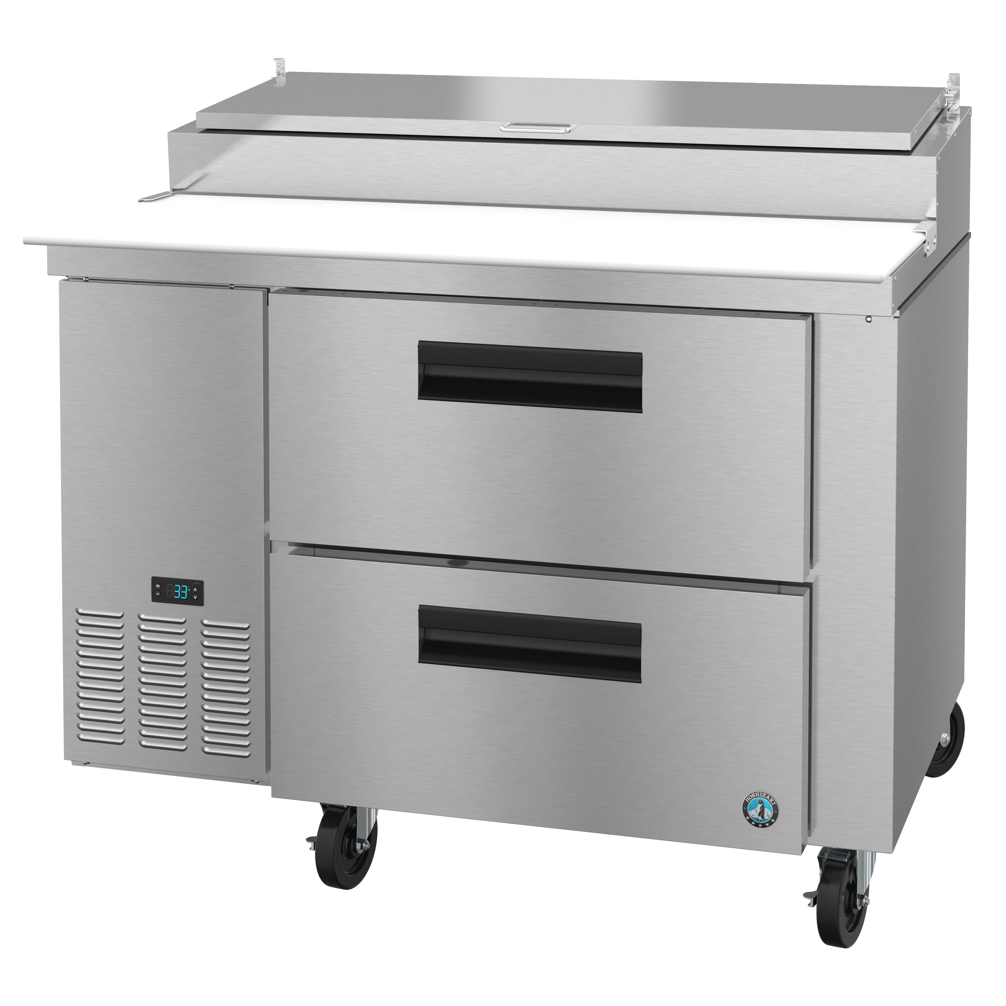 Hoshizaki PR46A-D2 refrigerated counter, pizza prep table