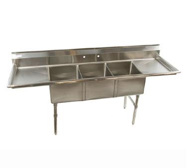Klinger's Trading ECS32D24 sink, (3) three compartment