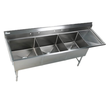 Klinger's Trading EIT3DR sink, (3) three compartment
