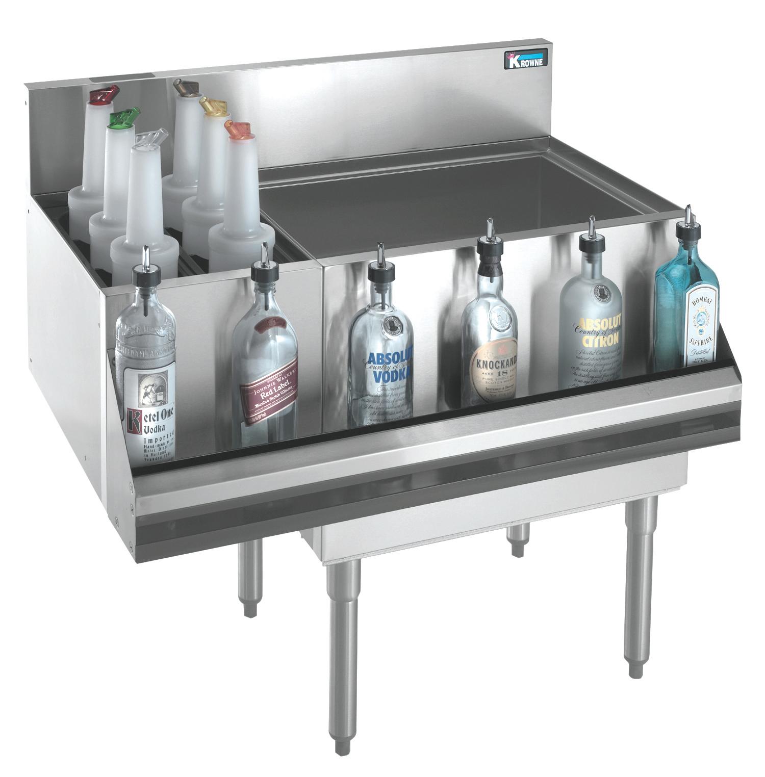 Krowne Metal KR18-M36R underbar ice bin/cocktail station, bottle well bin
