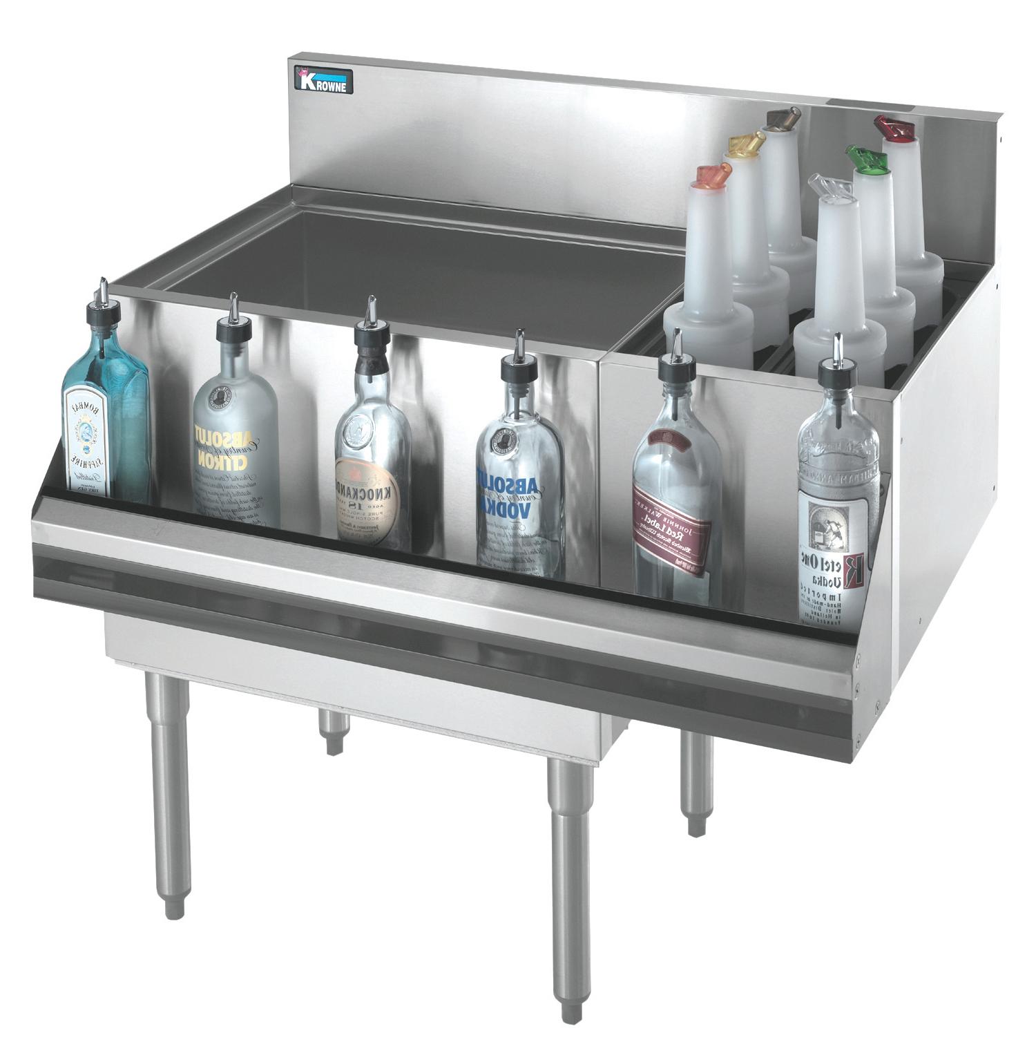 Krowne Metal KR18-M48L-10 underbar ice bin/cocktail station, bottle well bin