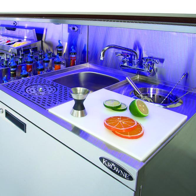 Krowne Metal KR18-MX70-10 underbar ice bin/cocktail station, blender station