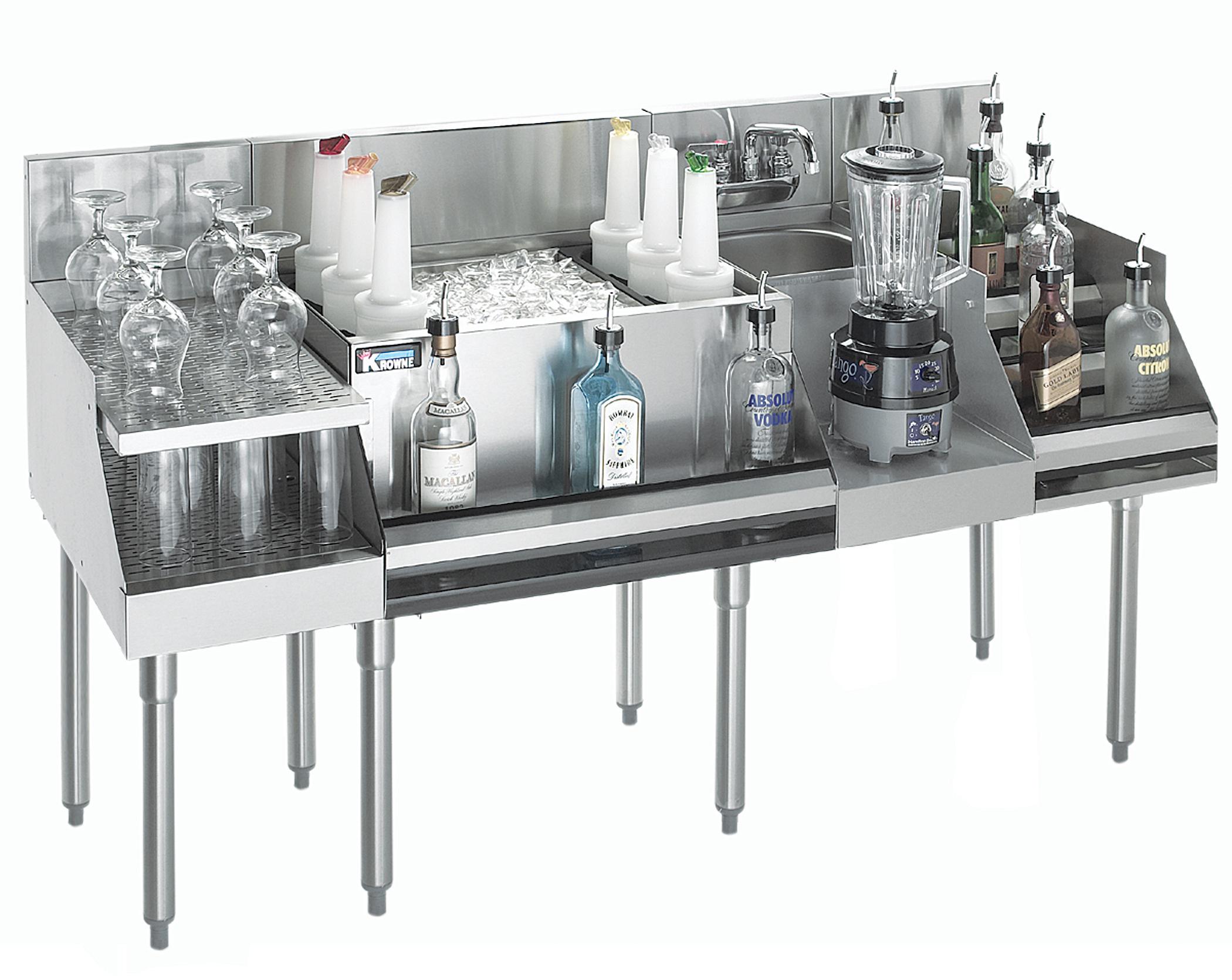 Krowne Metal KR18-W72C-10 underbar ice bin/cocktail station, blender station