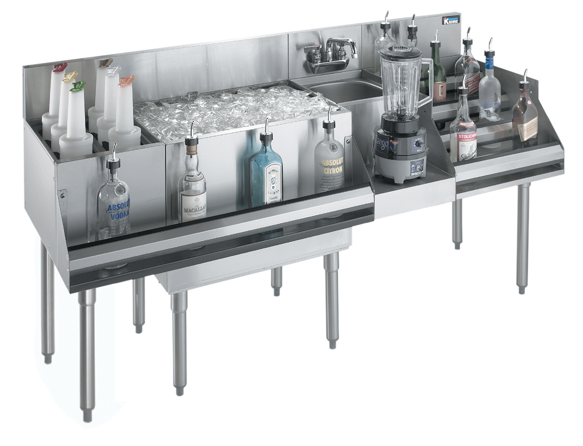 Krowne Metal KR18-W72E-10 underbar ice bin/cocktail station, blender station