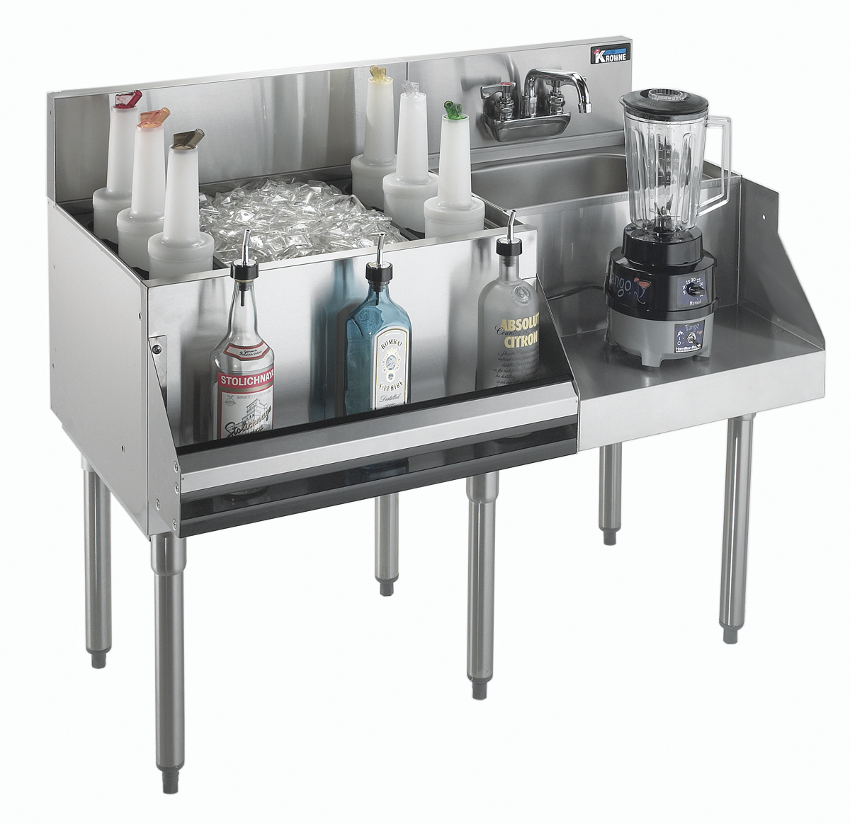 Krowne Metal KR21-W42L-10 underbar ice bin/cocktail station, blender station