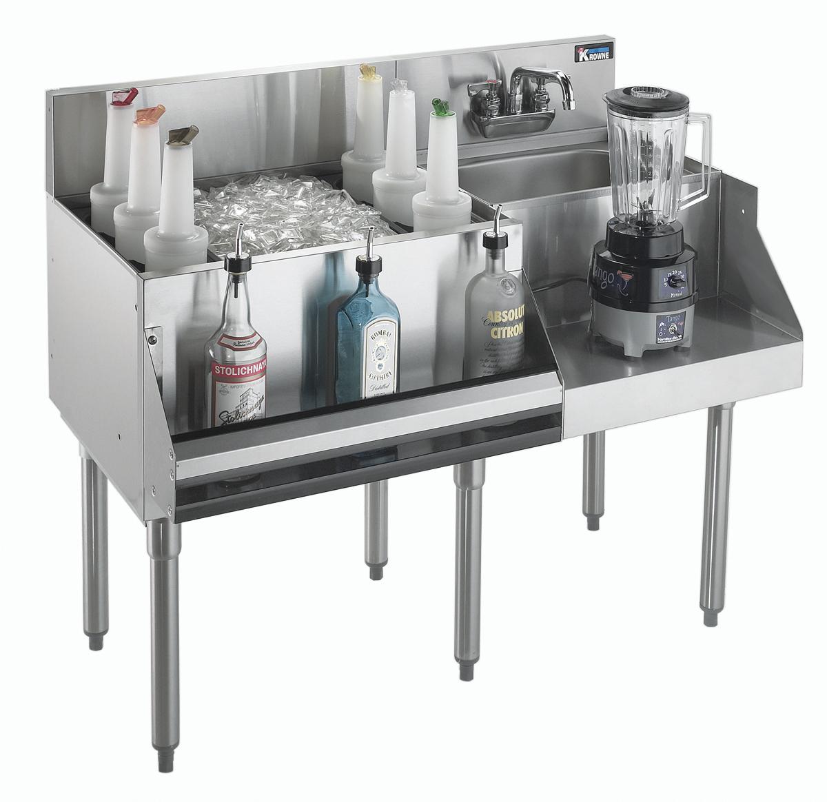 Krowne Metal KR21-W48L-10 underbar ice bin/cocktail station, blender station