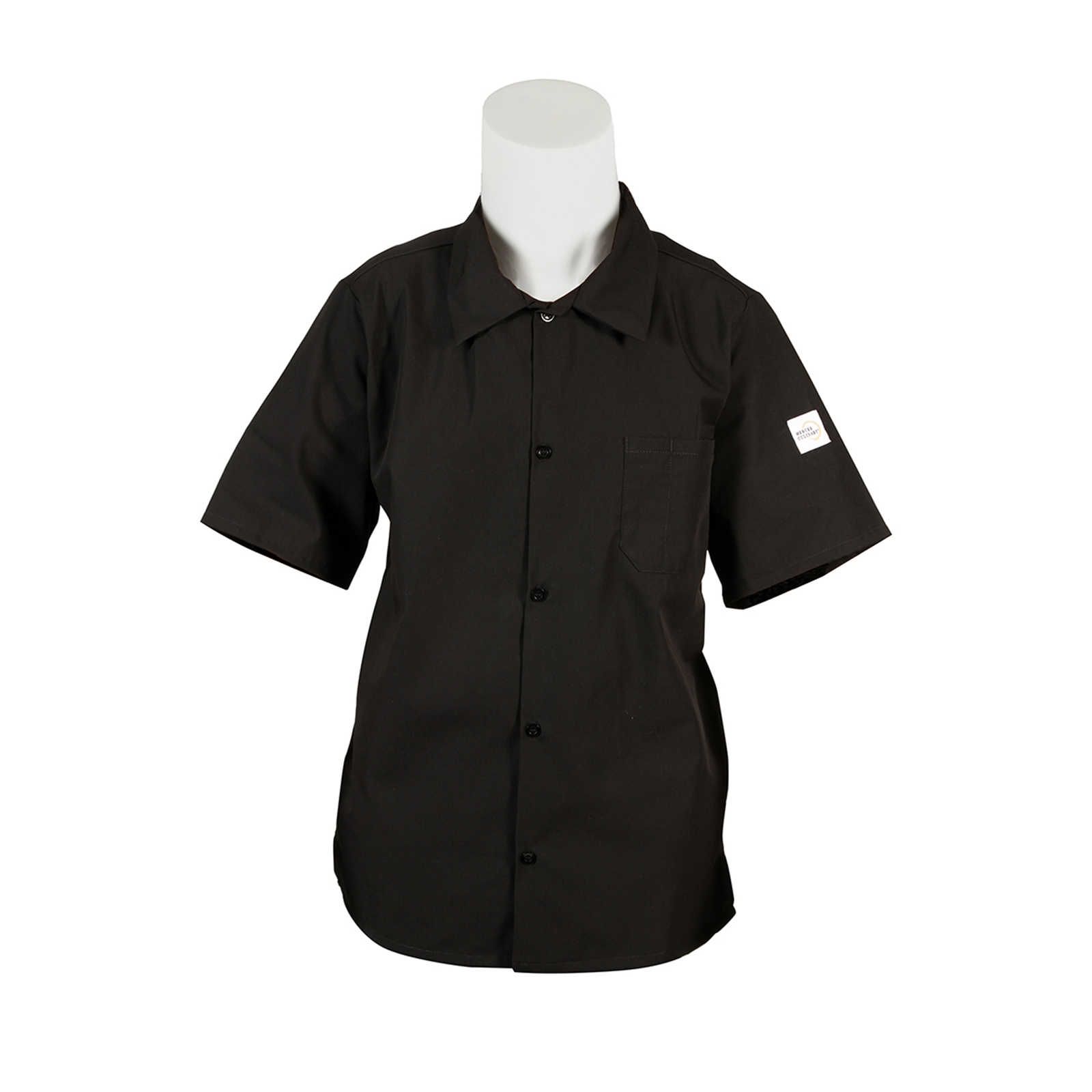 Mercer Culinary M60200BK5X cook's shirt
