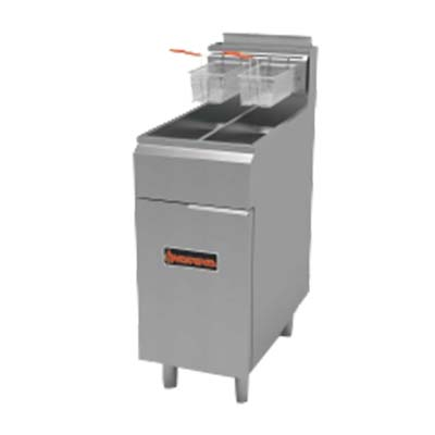 MVP SRF-25/25-NG fryer, gas, floor model, split pot