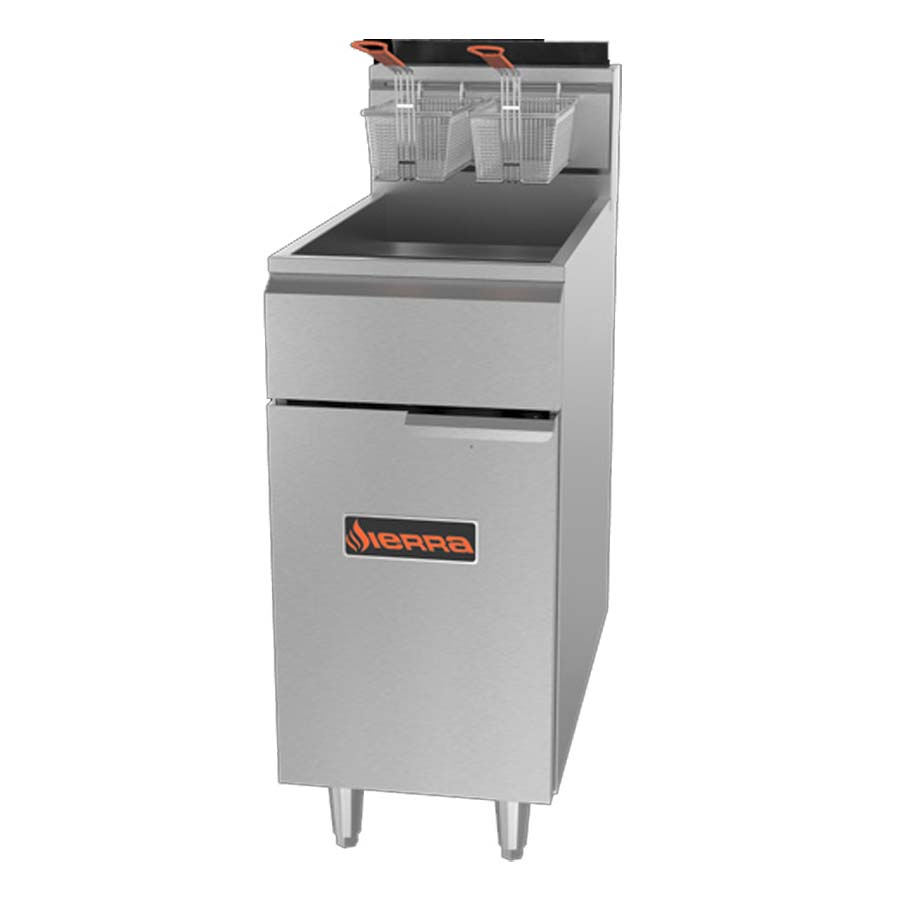MVP SRF-40/50-NG fryer, gas, floor model, full pot