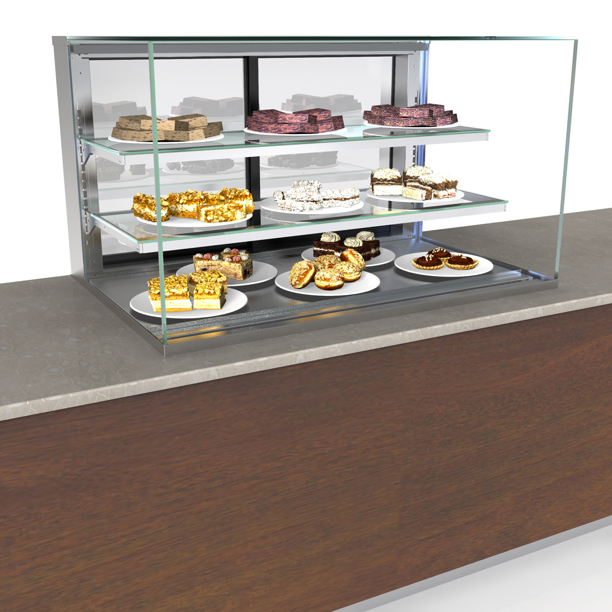 Structural Concepts NE3627DSV display case, non-refrigerated, slide in counter