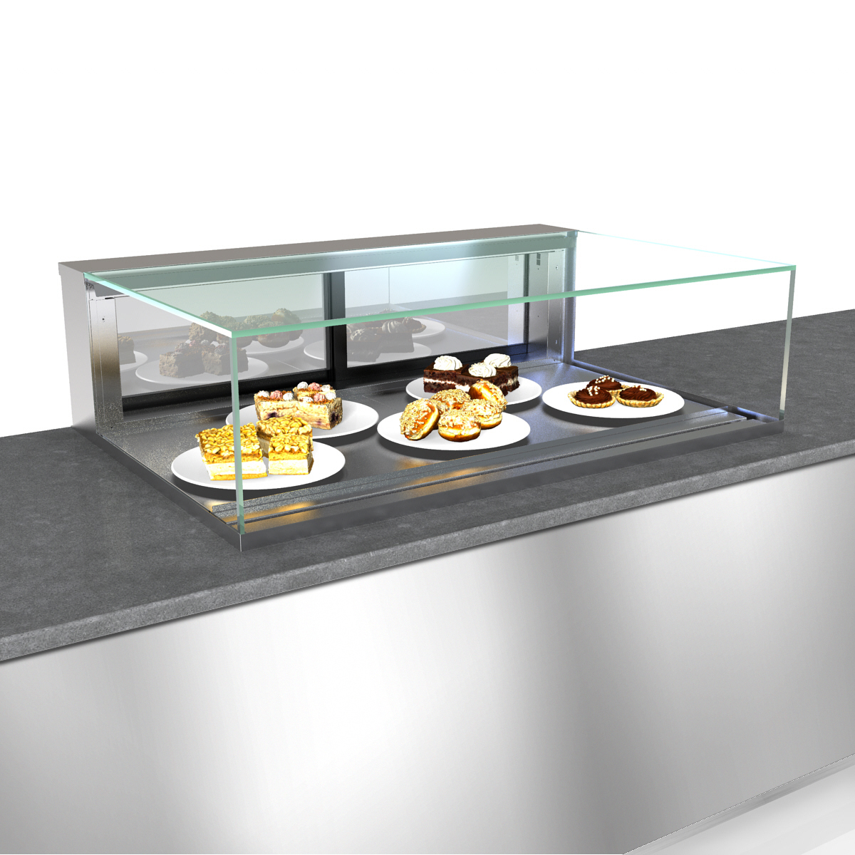 Structural Concepts NE4813DSV display case, non-refrigerated, slide in counter