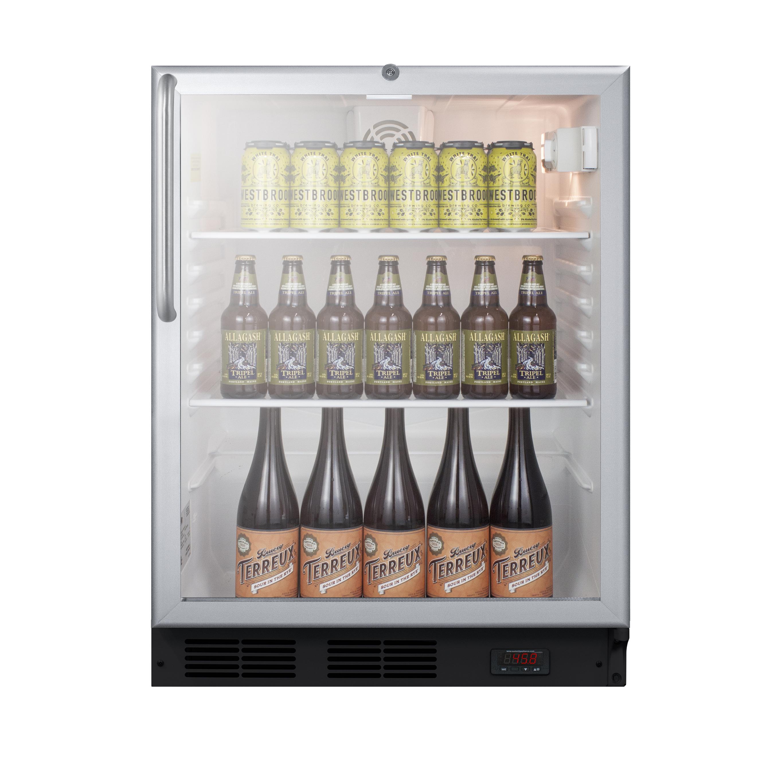 Summit Appliance SCR600BGLDTPUBCSS refrigerator, merchandiser, countertop