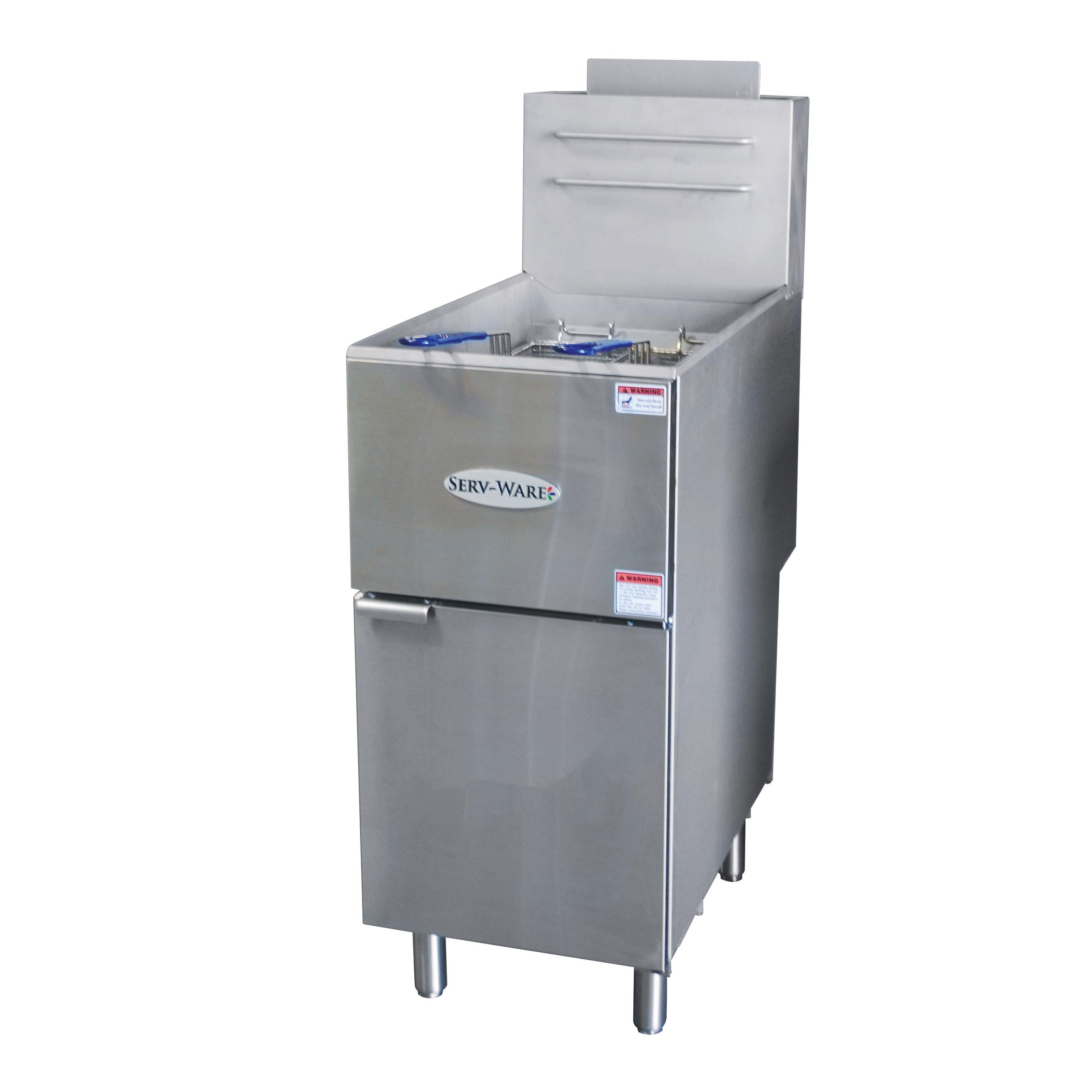 Serv-Ware SGF-40N fryer, gas, floor model, full pot