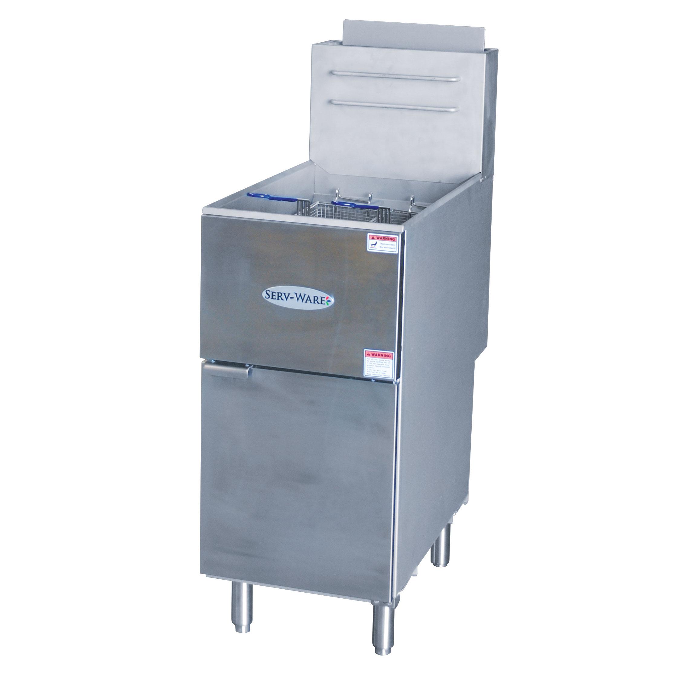 Serv-Ware SGF-50N fryer, gas, floor model, full pot