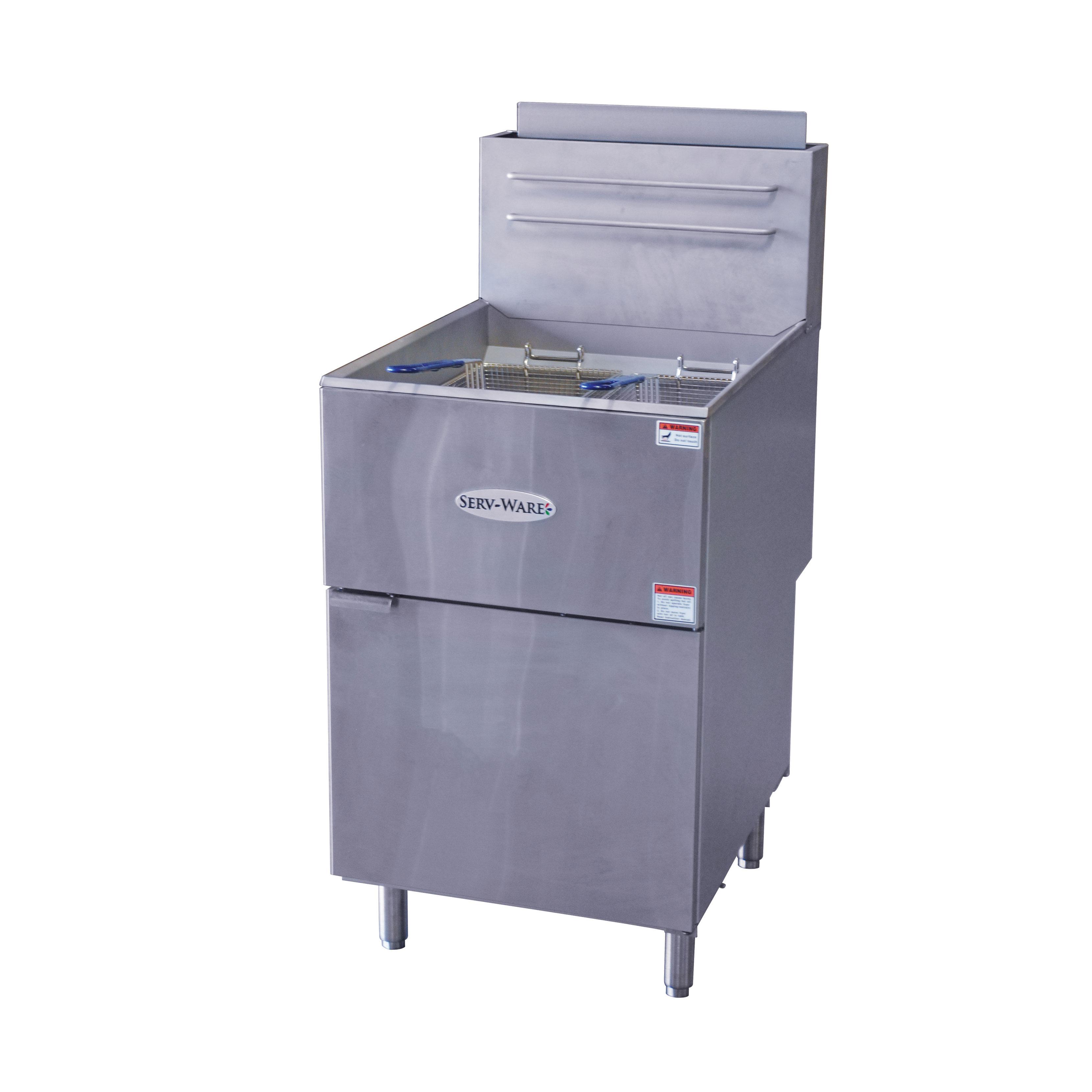 Serv-Ware SGF-70N fryer, gas, floor model, full pot