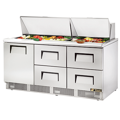 True Manufacturing Co., Inc. TFP-72-30M-D-4 refrigerated counter, mega top sandwich / salad unit