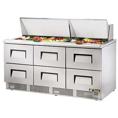 True Manufacturing Co., Inc. TFP-72-30M-D-6 refrigerated counter, mega top sandwich / salad unit