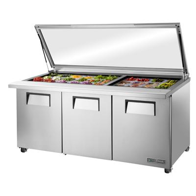 True Manufacturing Co., Inc. TSSU-72-30M-B-ST-FGLID-HC refrigerated counter, mega top sandwich / salad unit
