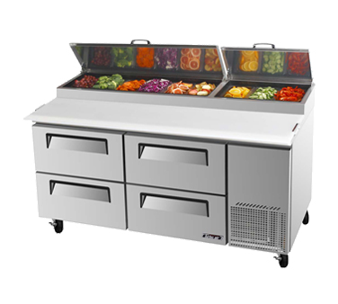 Turbo Air TPR-67SD-D4-N refrigerated counter, pizza prep table