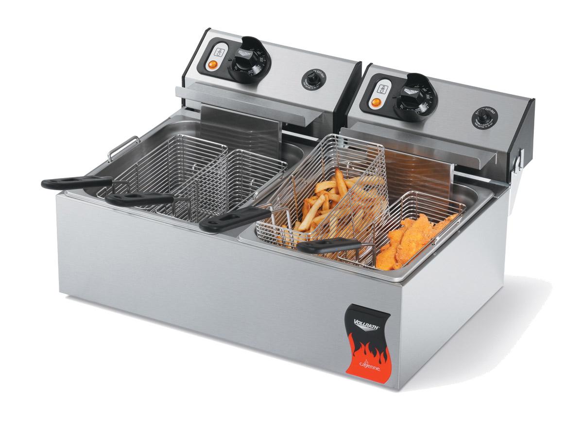 Vollrath 40708 fryer, electric, countertop, split pot