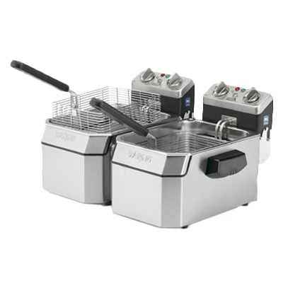Waring WDF1500BD fryer, electric, countertop, split pot