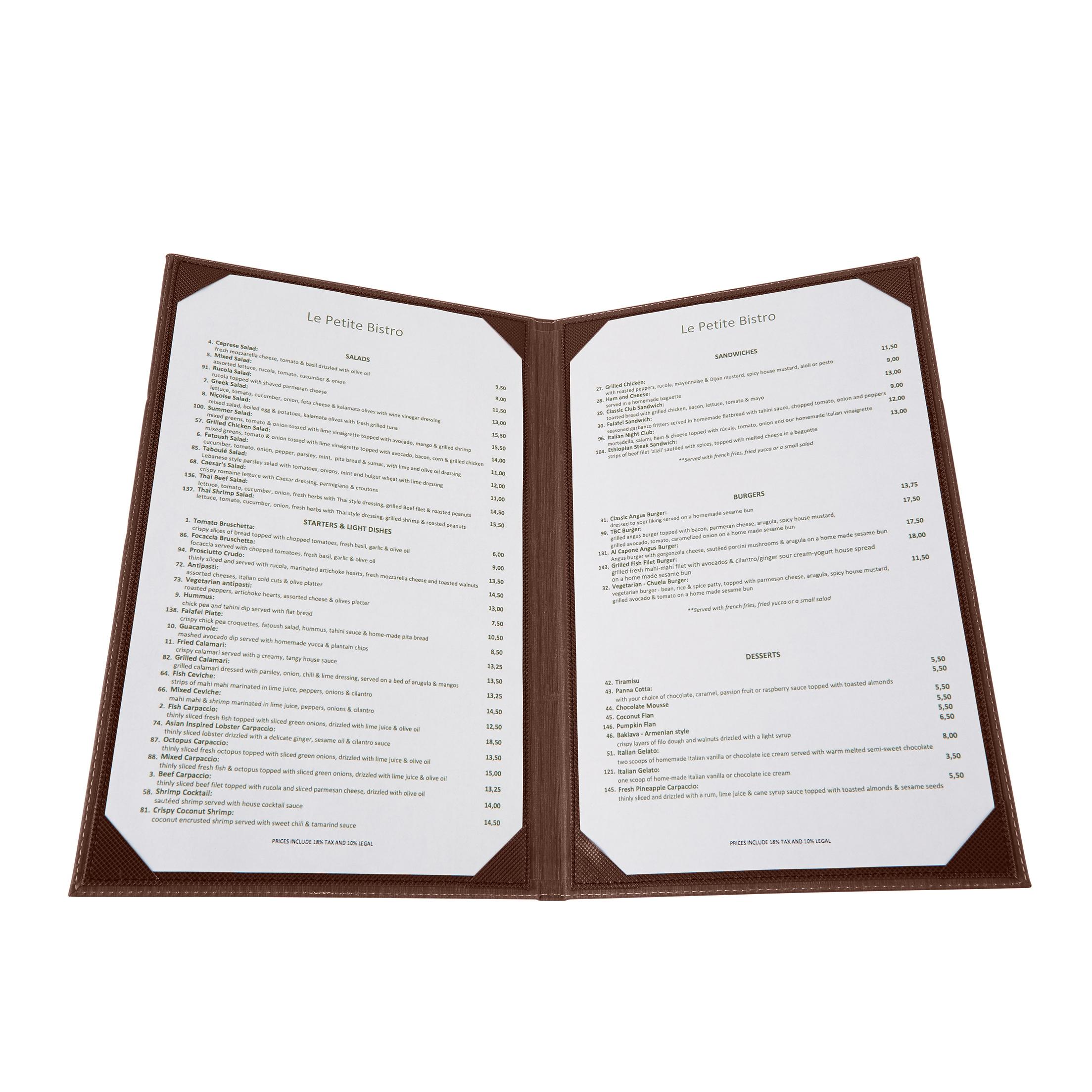 Winco LMD-814BN menu cover