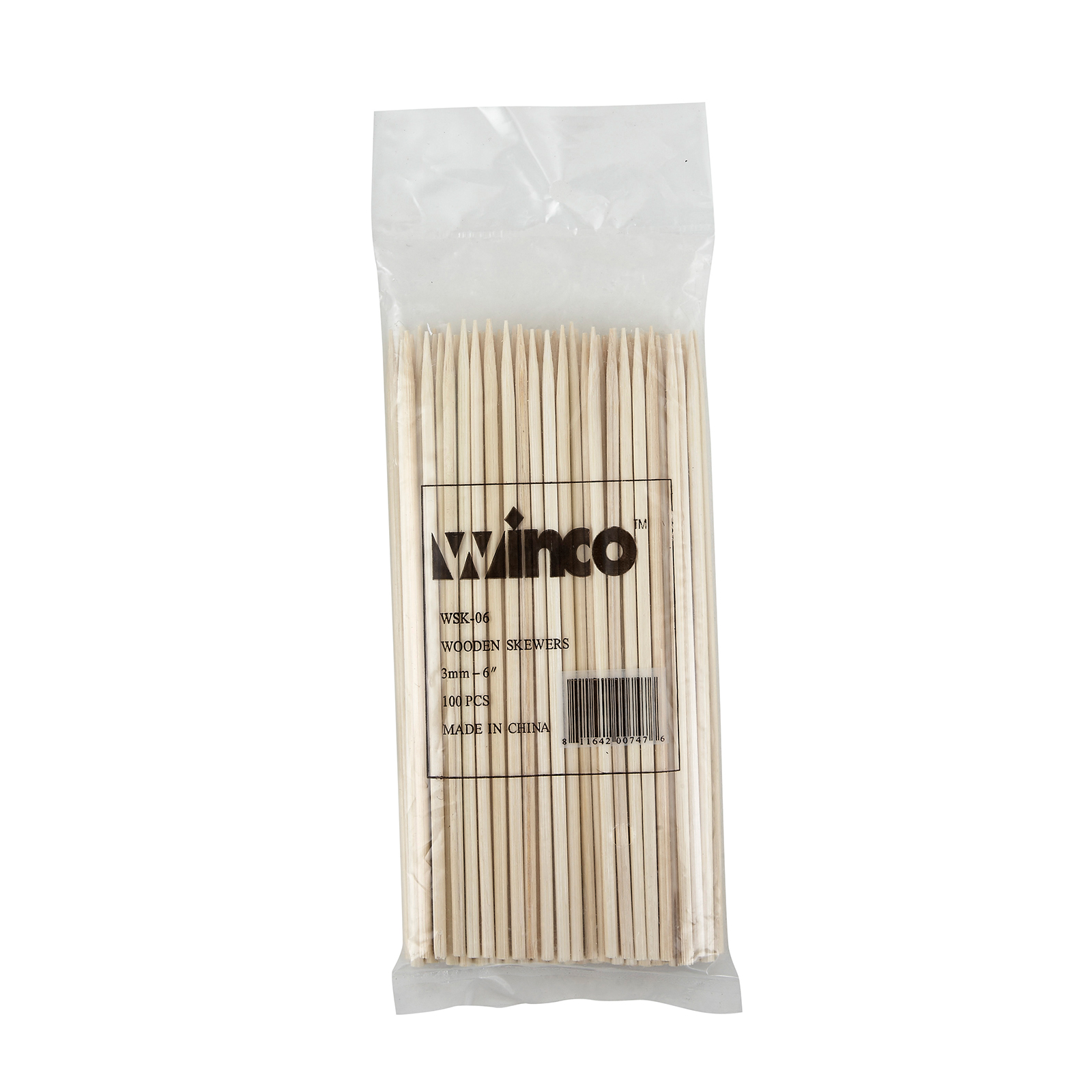 Winco WSK-06 skewers, wood