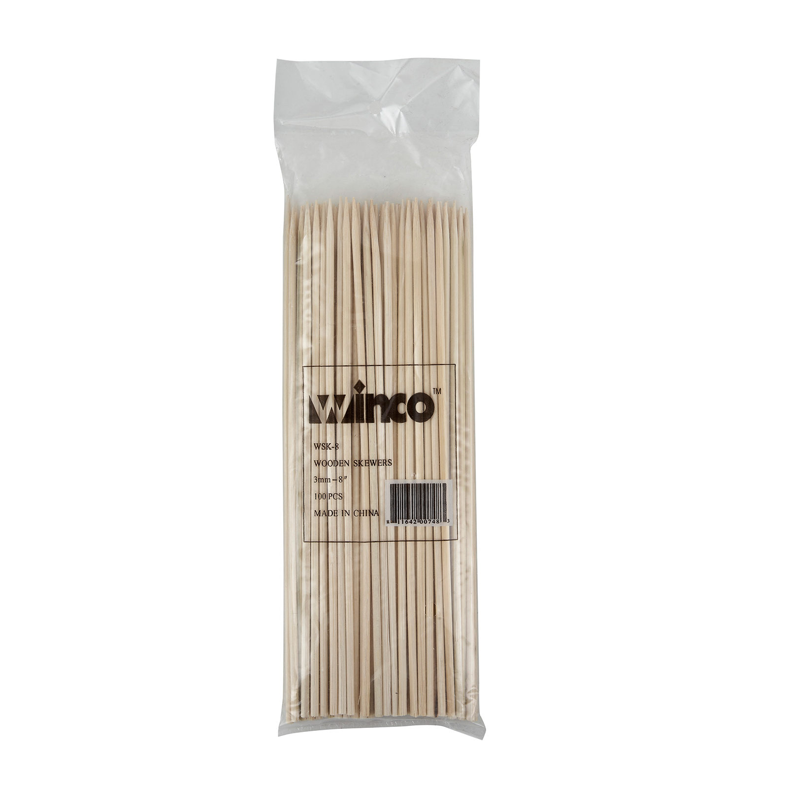 Winco WSK-08 skewers, wood